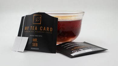 Photo de Emballage : SITI utilise la technologie HP Indigo pour ses cartes visites à base de sachets de thé